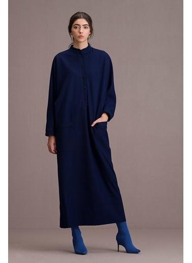 Eda Atalay Biyeli Cep Detaylı Maksi Elbise Saks